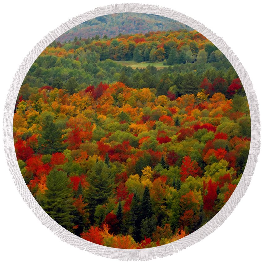 Autumn Round Beach Towel featuring the painting Autumns Colors by David Lee Thompson