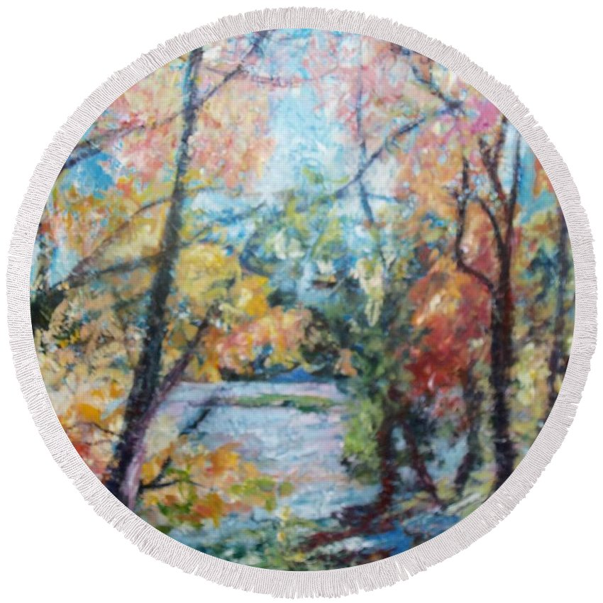 Landscape Round Beach Towel featuring the painting Autumn's Splendor by Sheila Holland