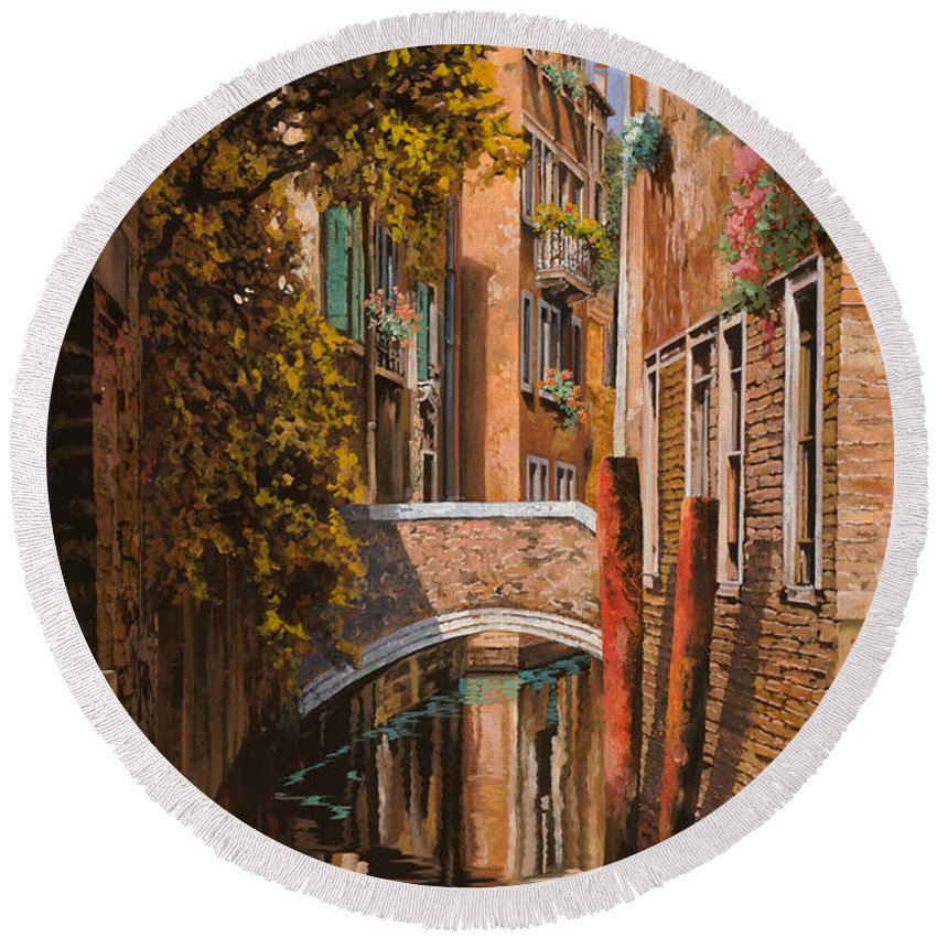 Venice Round Beach Towel featuring the painting autunno a Venezia by Guido Borelli