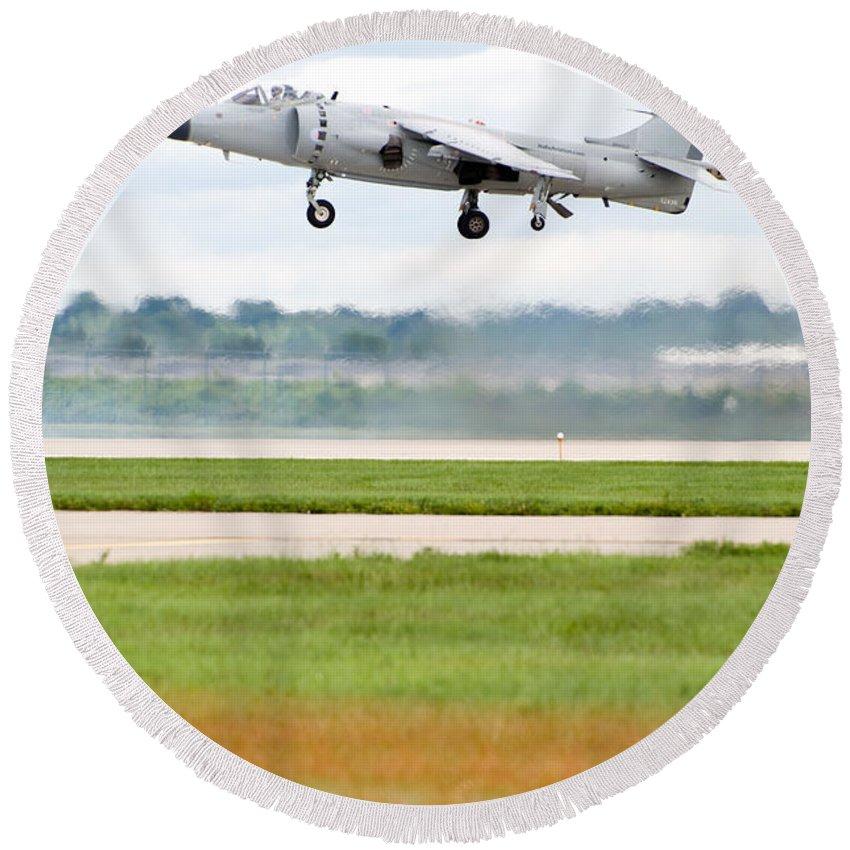 Airplane Round Beach Towel featuring the photograph Av-8 Harrier by Sebastian Musial