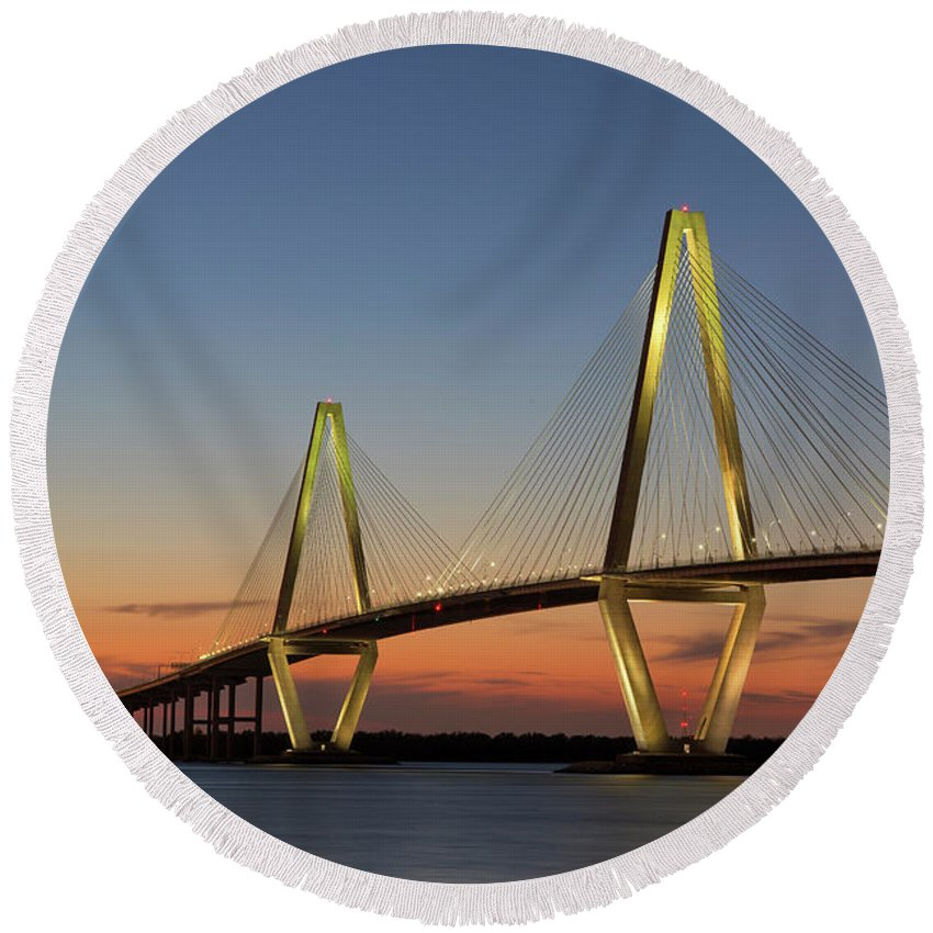 South Carolina Round Beach Towel featuring the photograph Avenell Bridge Sunset by Nancy Dunivin