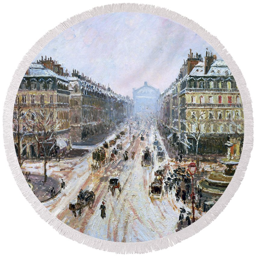 Avenue Round Beach Towel featuring the painting Avenue De L'opera - Effect Of Snow by Camille Pissarro