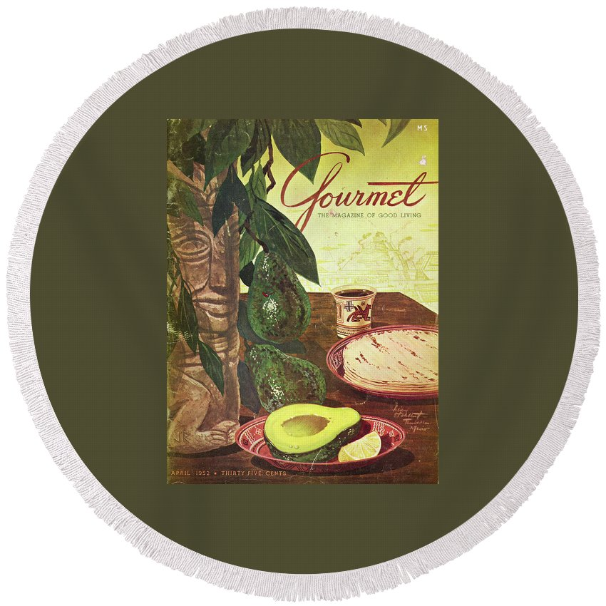 Food Round Beach Towel featuring the photograph Avocado And Tortillas by Henry Stahlhut