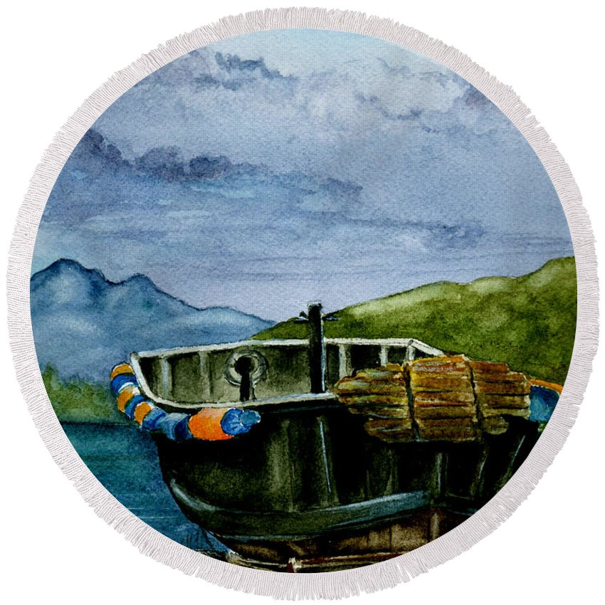 Watercolor Round Beach Towel featuring the painting Awaiting The Season by Brenda Owen