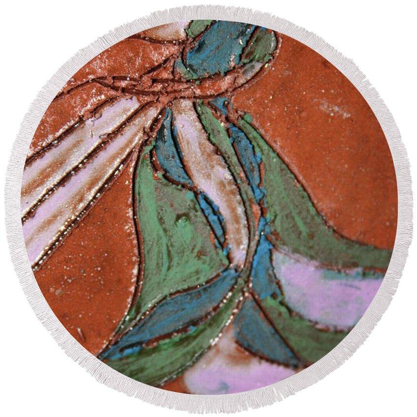 Gloria Ssali Round Beach Towel featuring the painting Awake Tile by Gloria Ssali