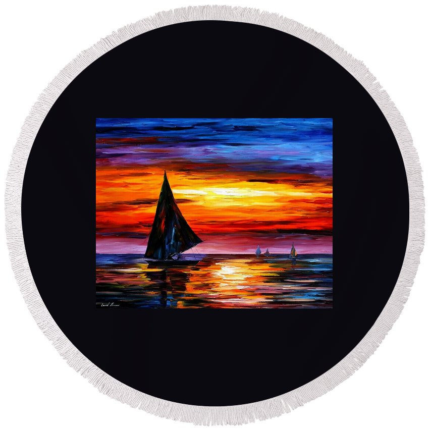 Afremov Round Beach Towel featuring the painting Away From The Sunset by Leonid Afremov