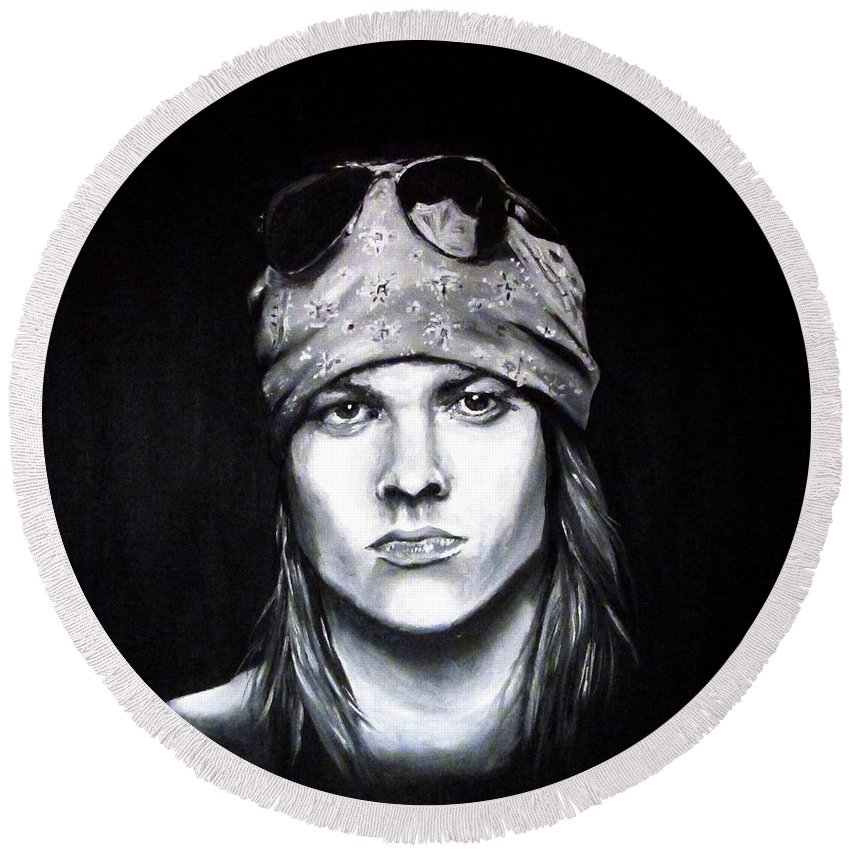Axl Rose Round Beach Towel featuring the painting Axl Rose - Welcome To The Jungle by Francesca Agostini