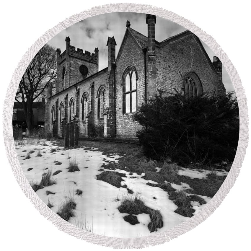 North Yorkshire Round Beach Towel featuring the photograph Aysgarth Church by Smart Aviation