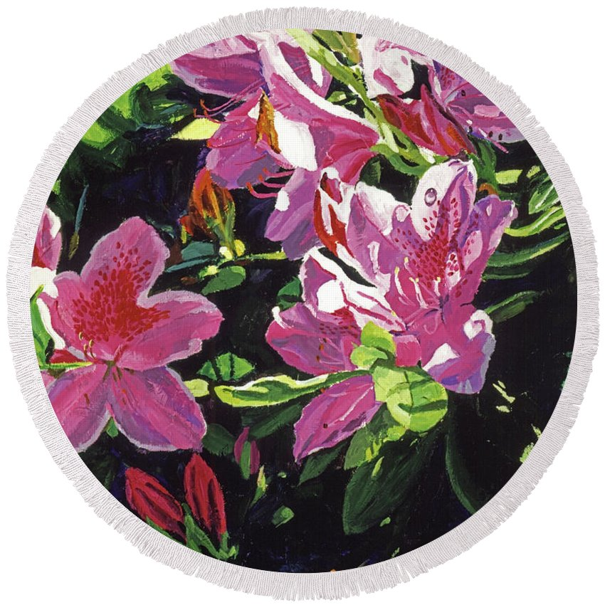 Flowers Round Beach Towel featuring the painting Azaleas With Dew Drop by David Lloyd Glover
