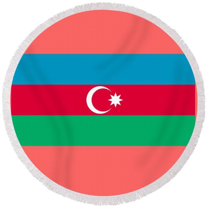 Flag Round Beach Towel featuring the digital art Azerbaijan Flag by Frederick Holiday