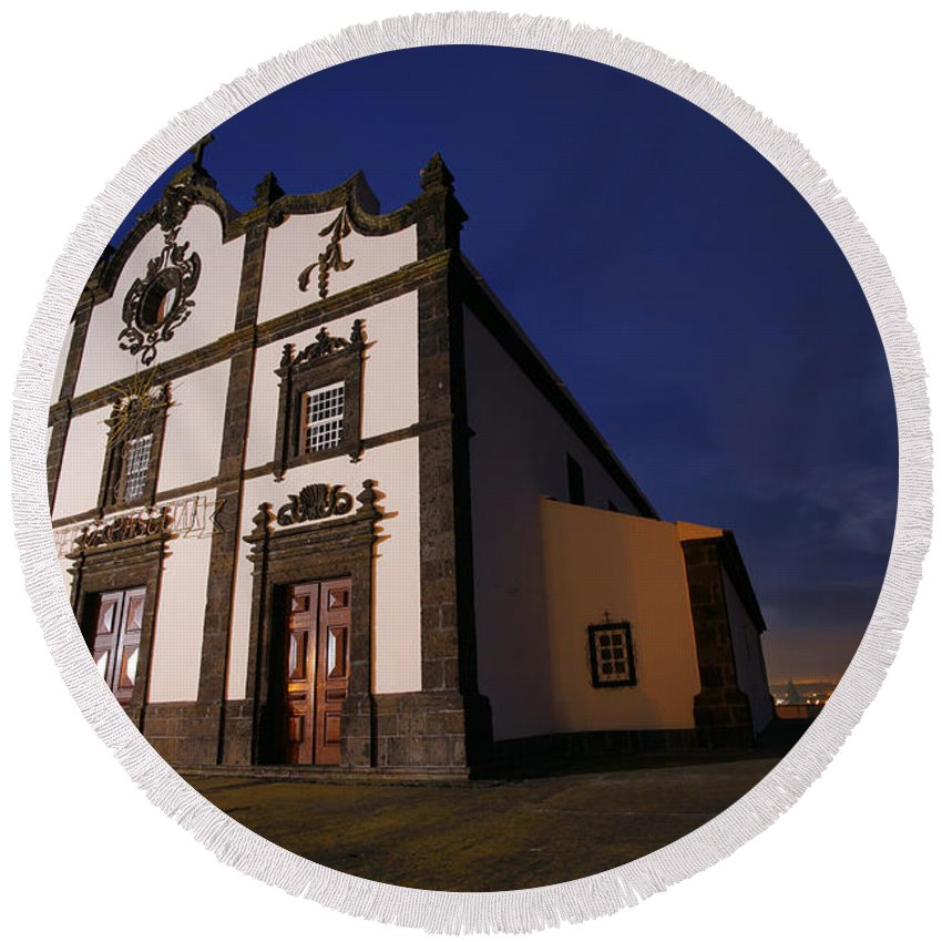 Catholic Round Beach Towel featuring the photograph Azorean Church At Night by Gaspar Avila