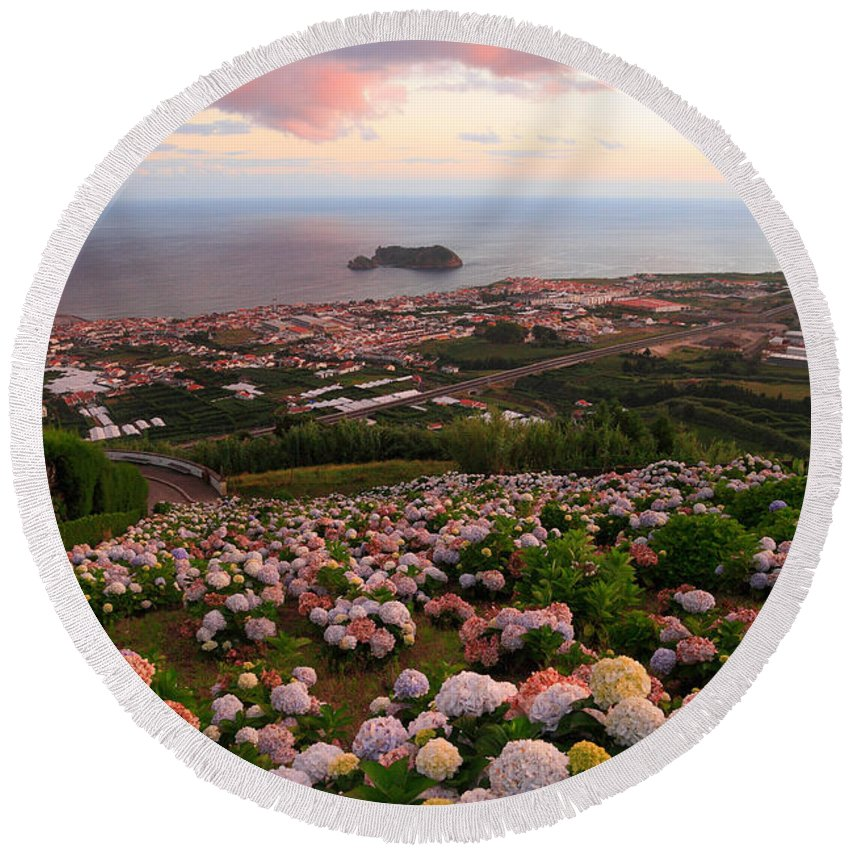 Landscape Round Beach Towel featuring the photograph Azorean Town At Sunset by Gaspar Avila