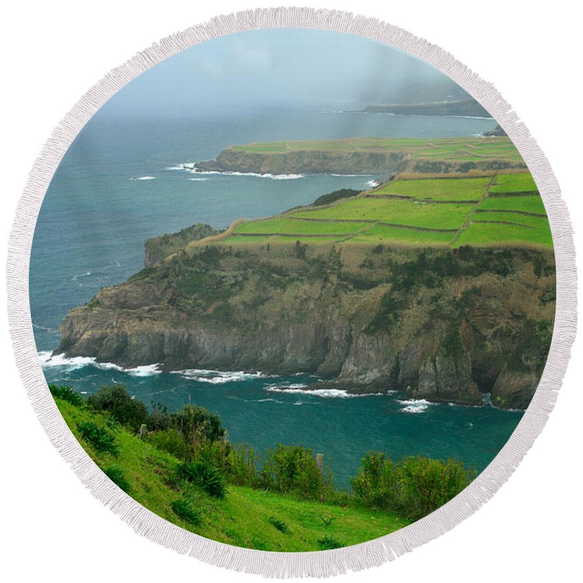 Azores Round Beach Towel featuring the photograph Azores Coastal Landscape by Gaspar Avila