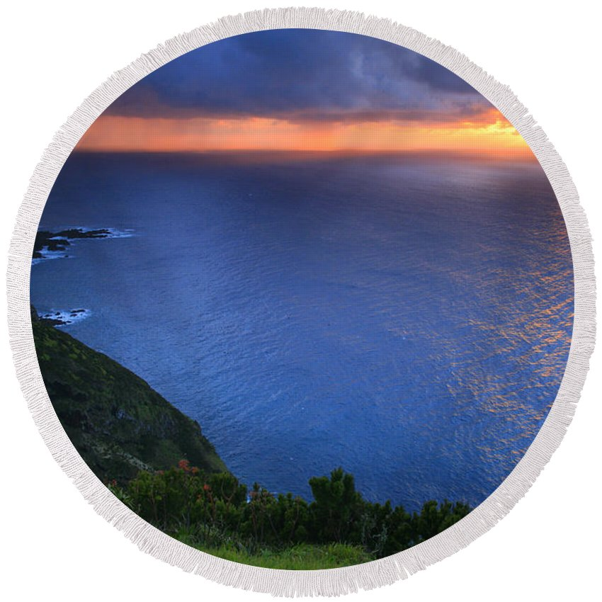 Island Round Beach Towel featuring the photograph Azores Islands Sunset by Gaspar Avila