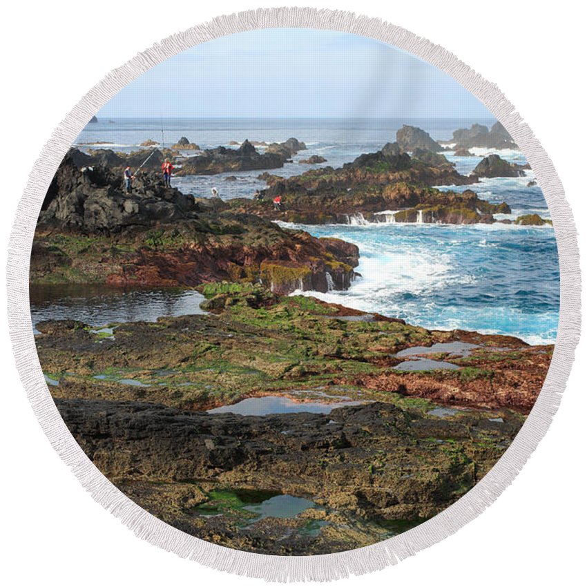 Atlantic Round Beach Towel featuring the photograph Azores Seascape by Gaspar Avila