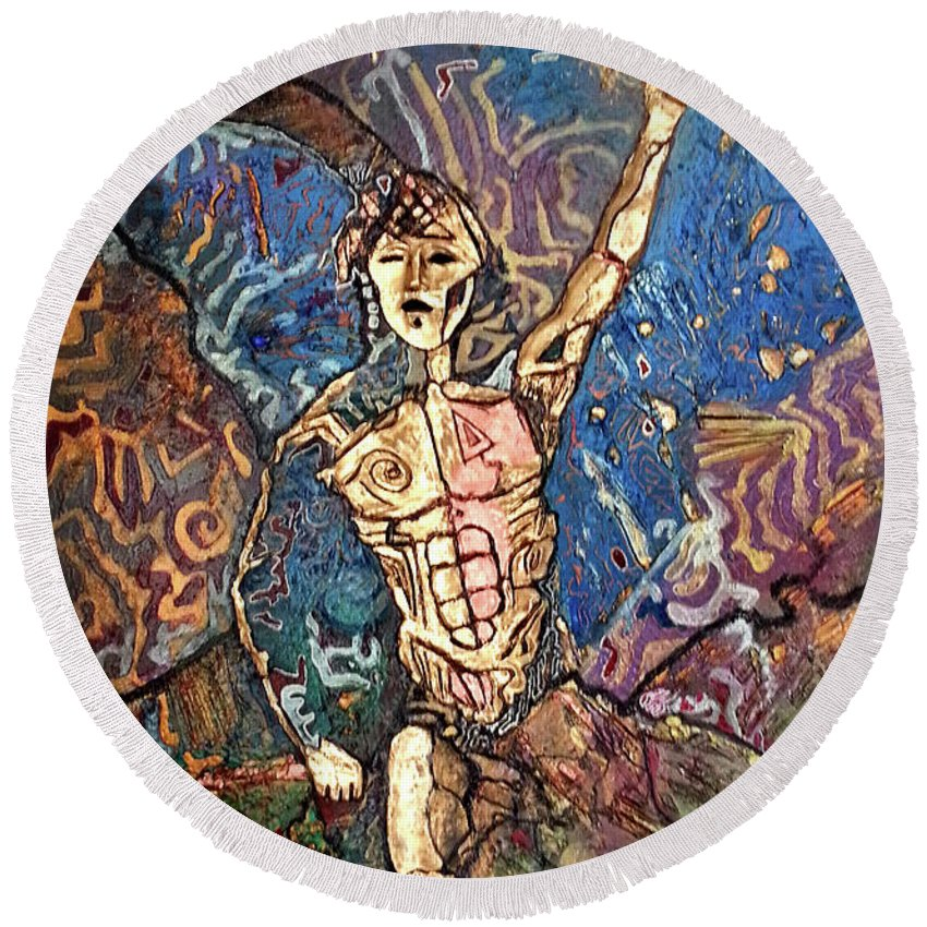 Cosmogony Round Beach Towel featuring the painting Aztec Cosmogony by Bob Money