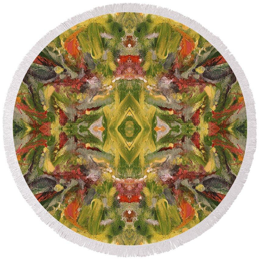 Aztec Round Beach Towel featuring the digital art Aztec Kaleidoscope - Pattern 001 - Desert by Julie Turner