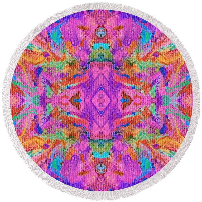 Aztec Round Beach Towel featuring the digital art Aztec Kaleidoscope - Pattern 009 by Julie Turner