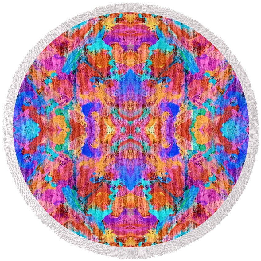 Aztec Round Beach Towel featuring the digital art Aztec Kaleidoscope - Pattern 015 by Julie Turner