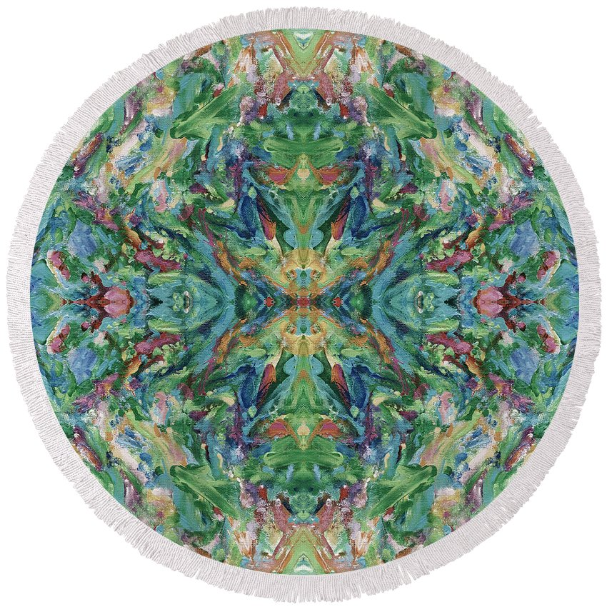 Aztec Round Beach Towel featuring the digital art Aztec Kaleidoscope - Pattern 018 - Earth by Julie Turner