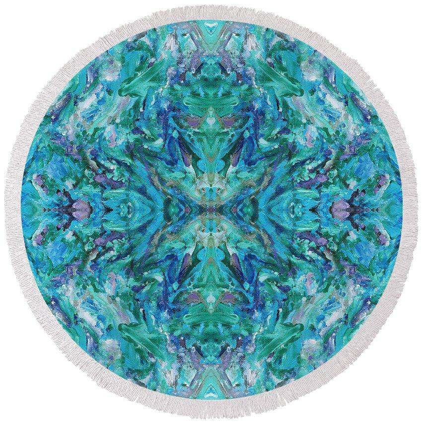 Aztec Round Beach Towel featuring the digital art Aztec Kaleidoscope - Pattern 018 - Ocean by Julie Turner