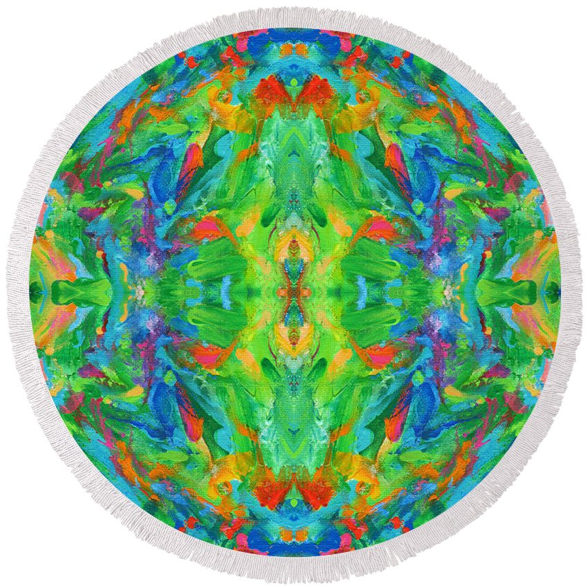 Aztec Round Beach Towel featuring the photograph Aztec Kaleidoscope - Pattern 025 by Julie Turner