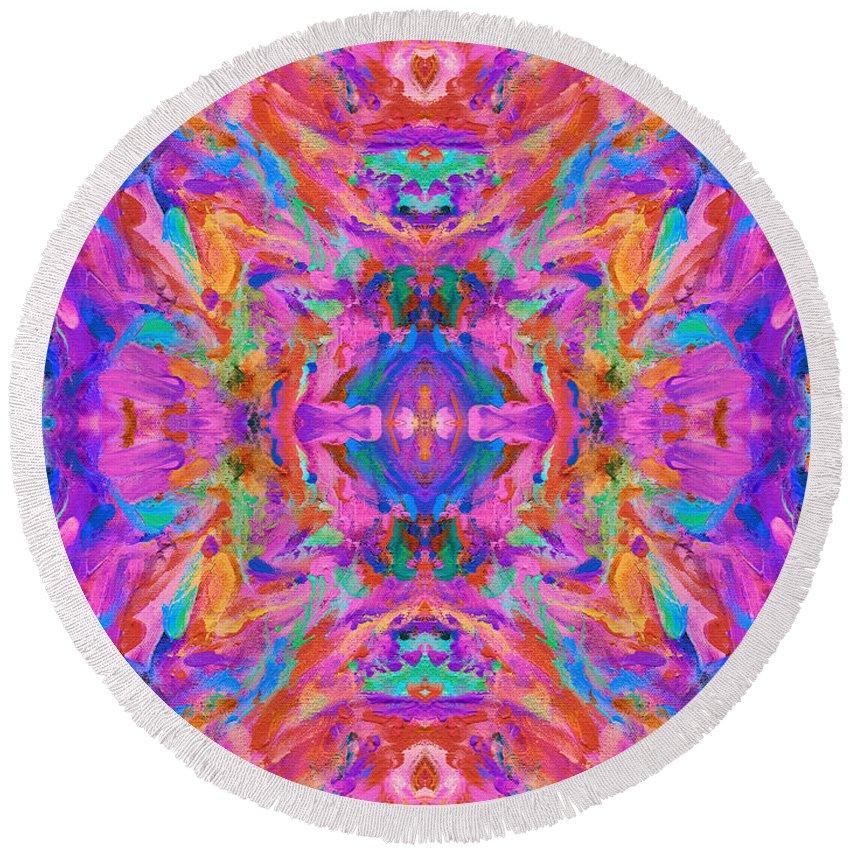Aztec Round Beach Towel featuring the digital art Aztec Kaleidoscope - Pattern 032 by Julie Turner