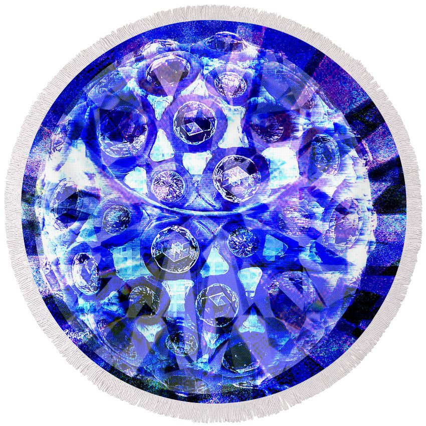 Abstract Round Beach Towel featuring the digital art Azure Orb Of Midas by Seth Weaver