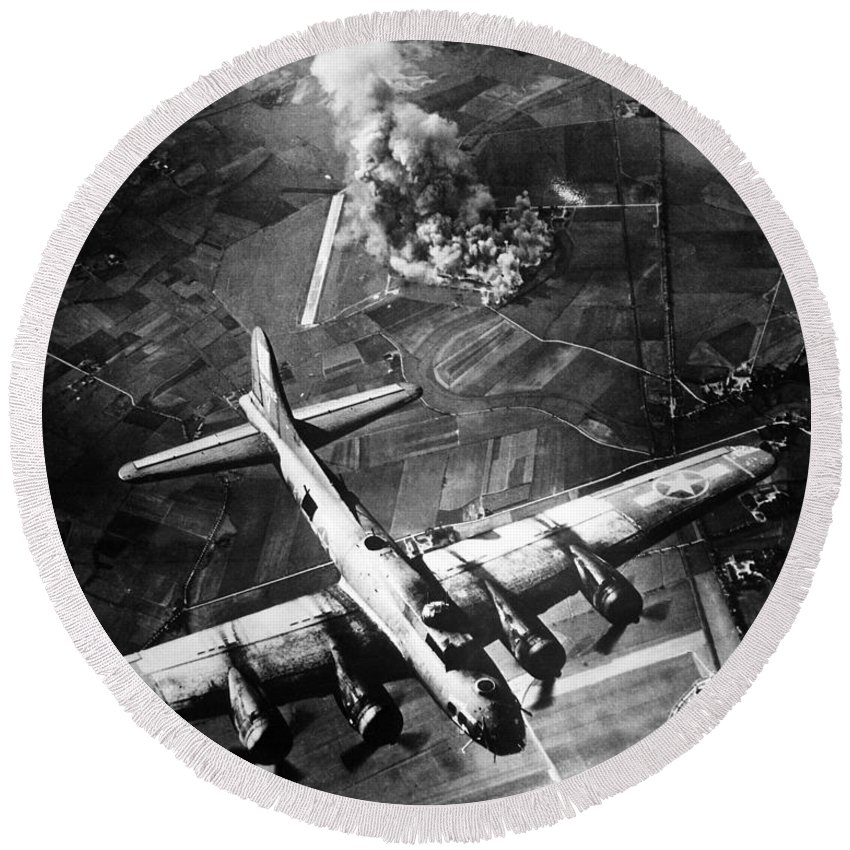 B 17 Round Beach Towel featuring the photograph B-17 Bomber Over Germany by War Is Hell Store