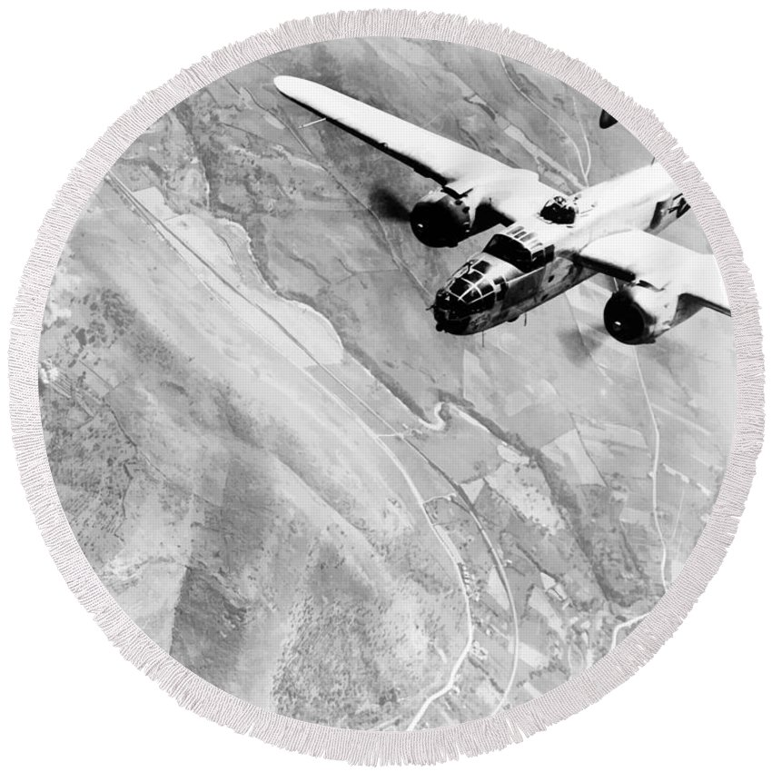 B 25 Round Beach Towel featuring the photograph B-25 Bomber Over Germany by War Is Hell Store