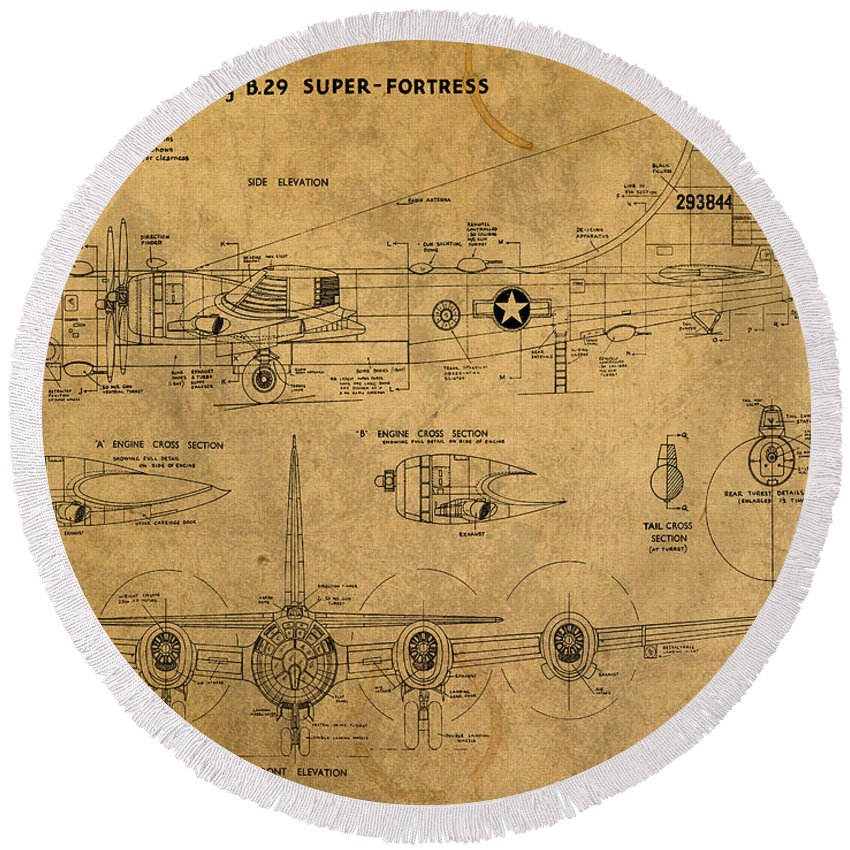 B29 Round Beach Towel featuring the mixed media B29 Superfortress Military Plane World War Two Schematic Patent Drawing On Worn Distressed Canvas by Design Turnpike
