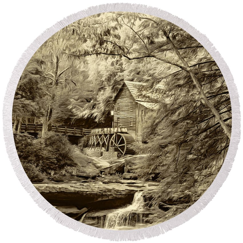 West Virginia Round Beach Towel featuring the photograph Babcock State Park Wv - Sepia by Steve Harrington