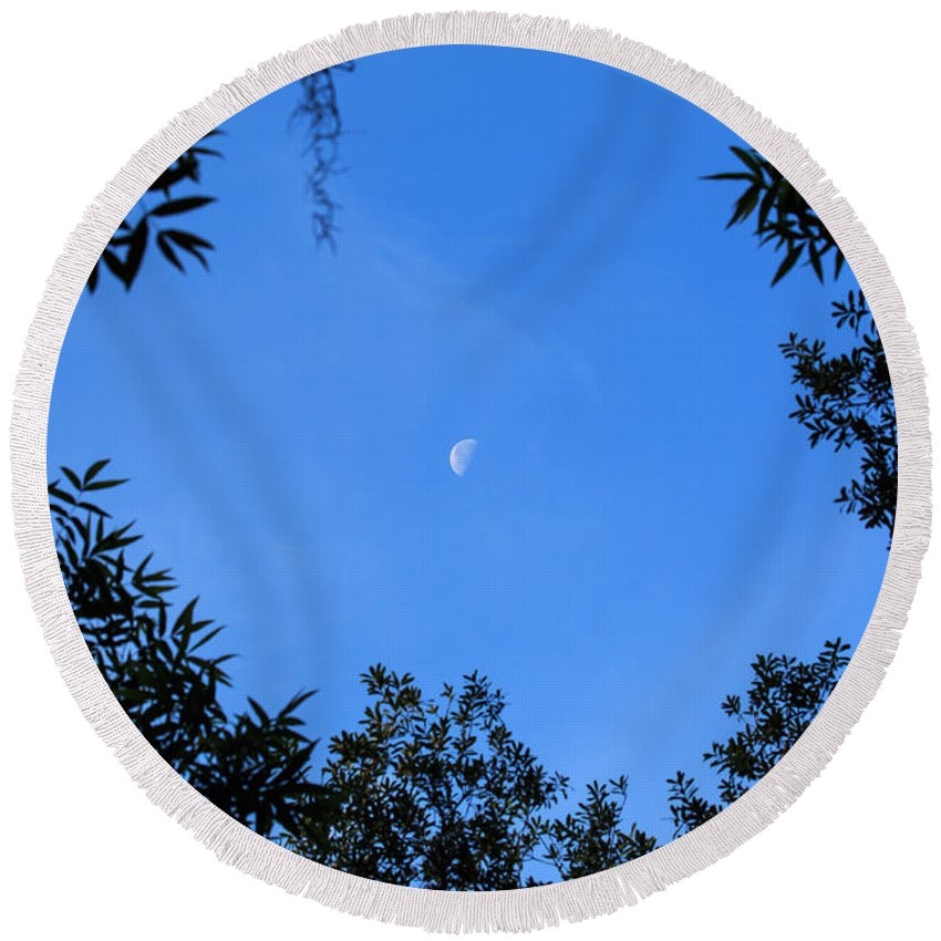 Florida Round Beach Towel featuring the photograph Babcock Wilderness Ranch - Daytime Moon Over Babcock by Ronald Reid
