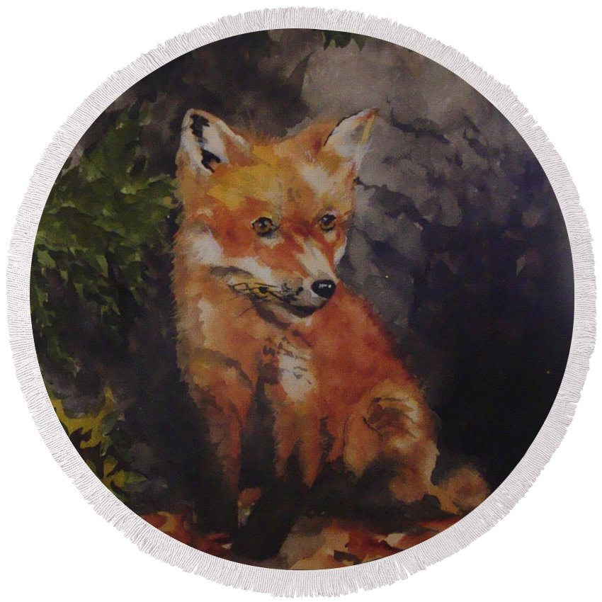 Fox Round Beach Towel featuring the painting Babe In The Woods by Jean Blackmer