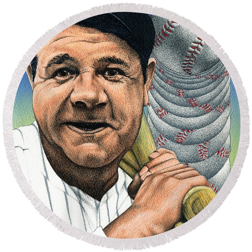 Baseball Round Beach Towel featuring the mixed media Babe Ruth by John D Benson