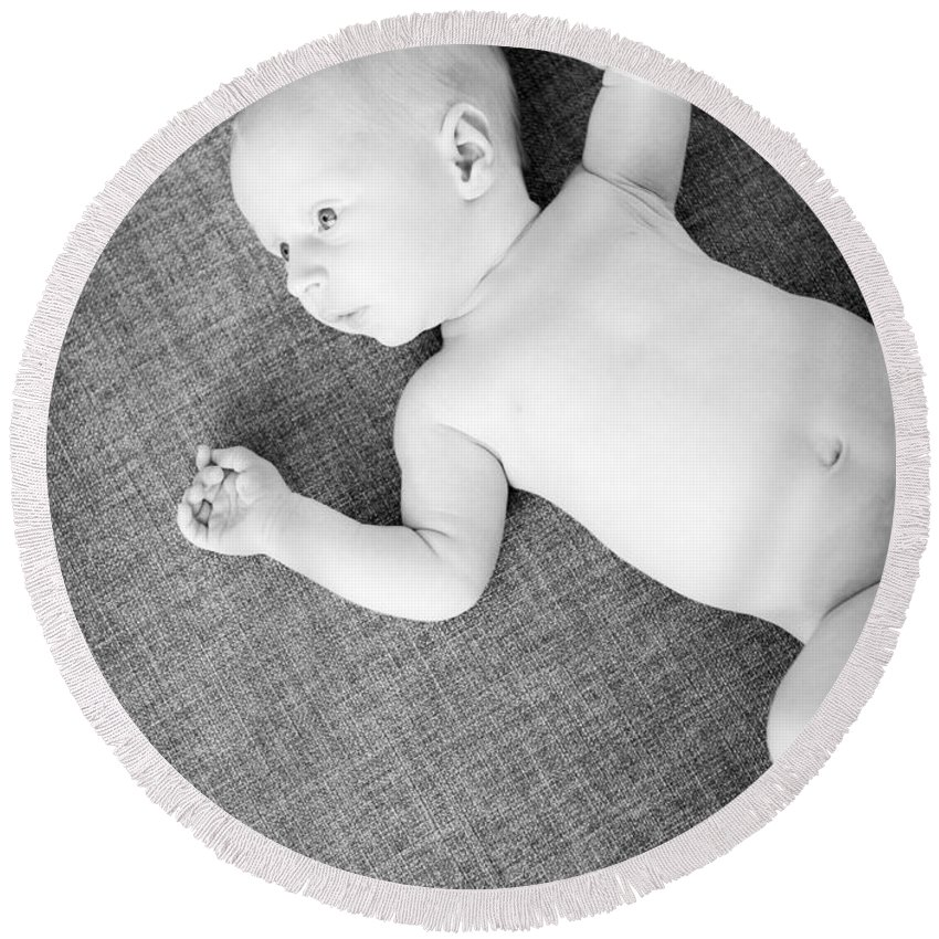 Baby Round Beach Towel featuring the photograph Baby Boy Black And White by Tim Hester