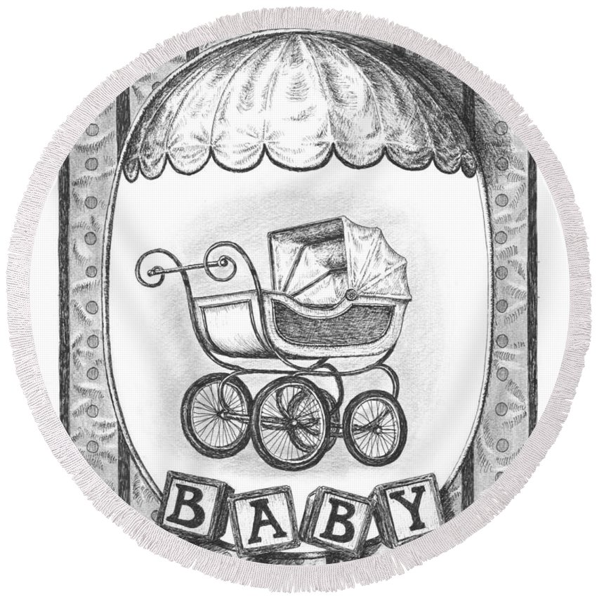 Black Round Beach Towel featuring the drawing Baby Carriage by Adam Zebediah Joseph