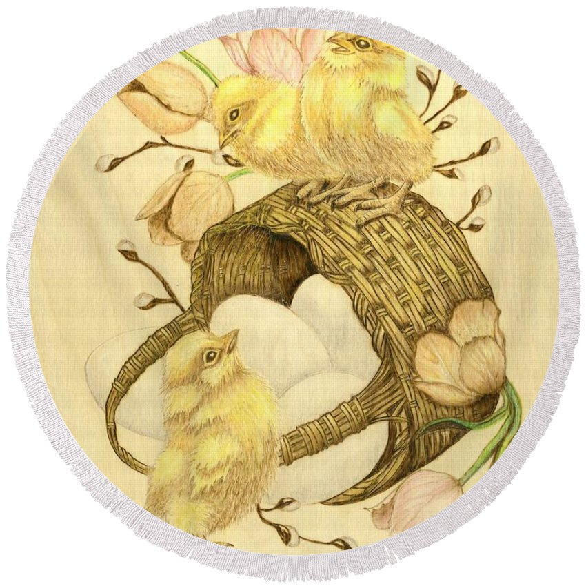 Chicks Round Beach Towel featuring the pyrography Baby Chicks by Danette Smith