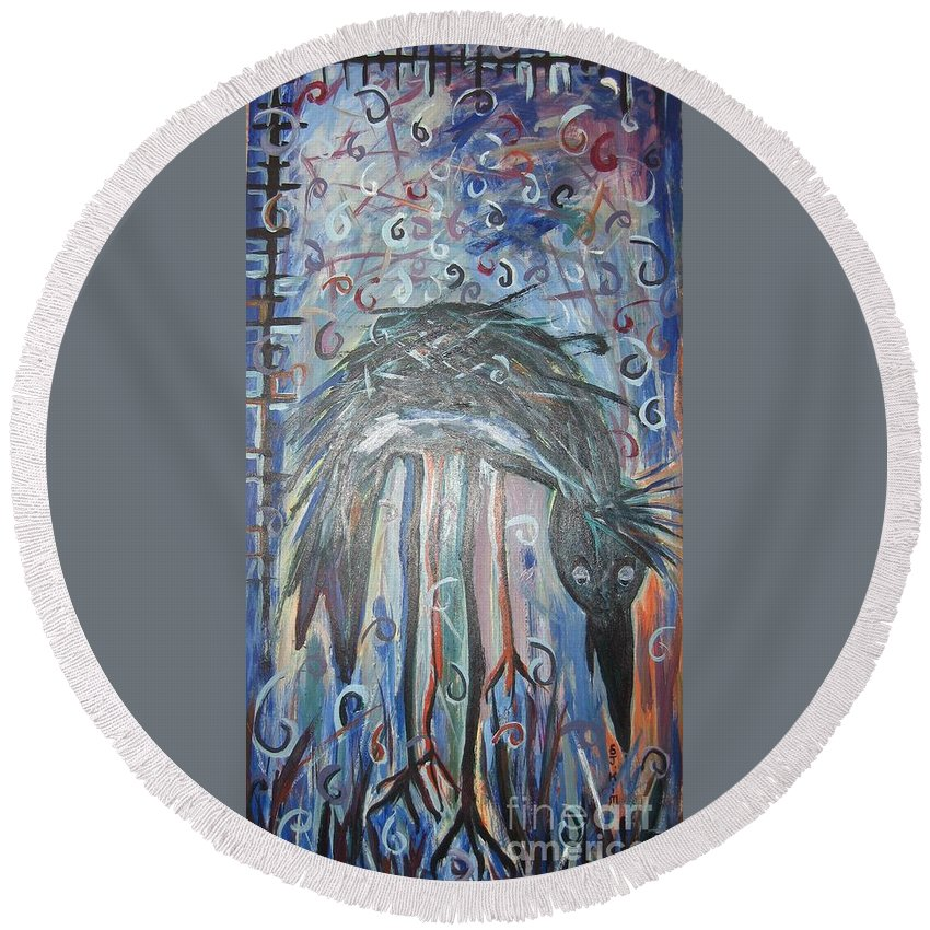 Crow Paintings Round Beach Towel featuring the painting Baby Crow11 by Seon-Jeong Kim