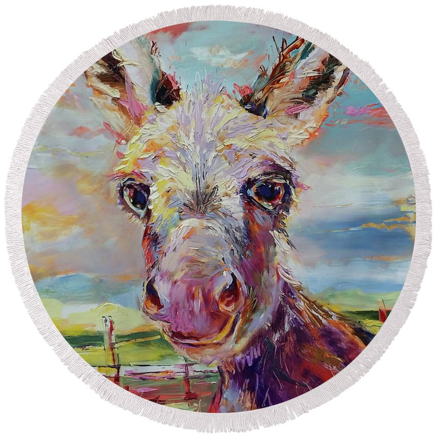 Donkey Round Beach Towel featuring the painting Baby Donkey Painting By Kim Guthrie Art by Kim Guthrie