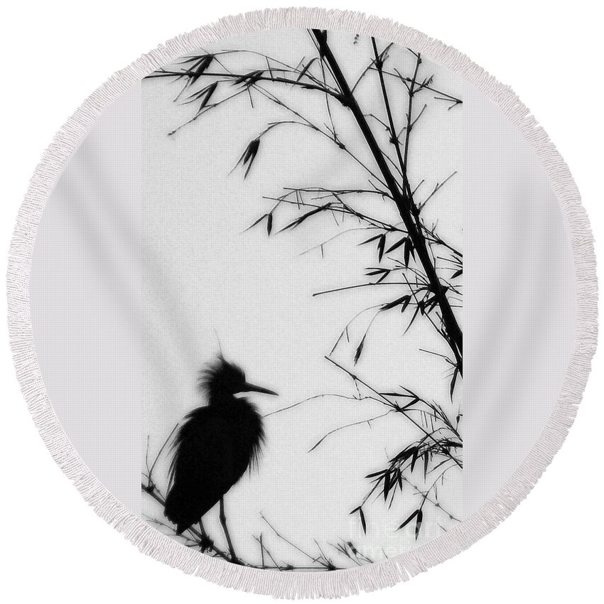 Egret Round Beach Towel featuring the photograph Baby Egret Waits by Linda Shafer