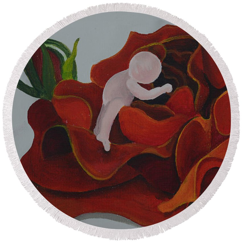 Rose Round Beach Towel featuring the painting Baby In A Rose by Catt Kyriacou