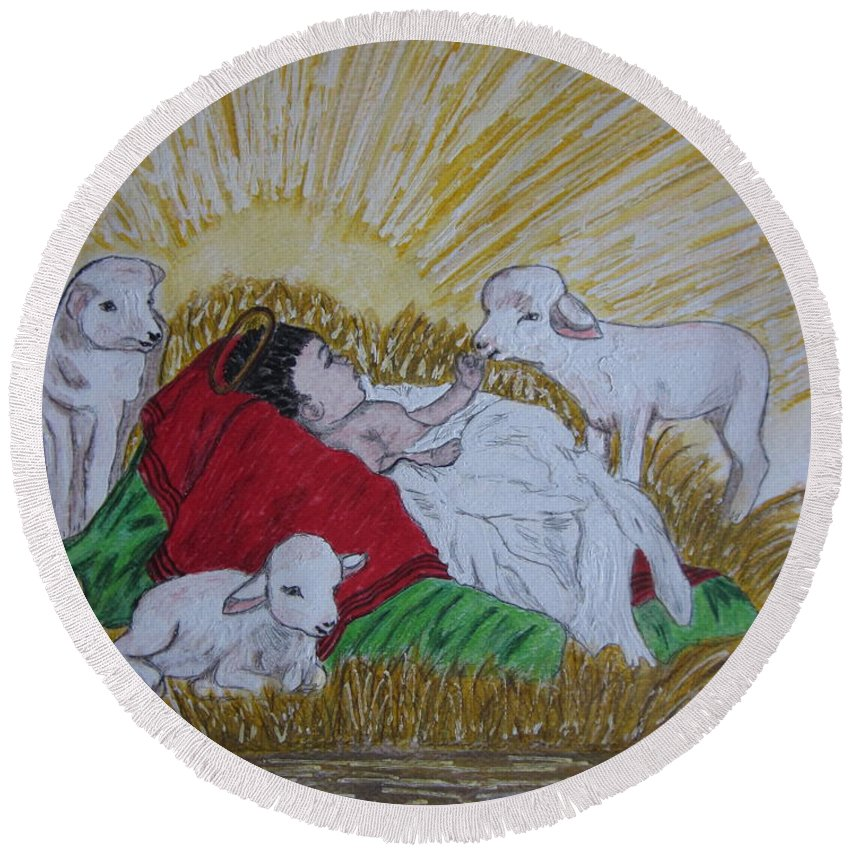 Saviour Round Beach Towel featuring the painting Baby Jesus At Birth by Kathy Marrs Chandler