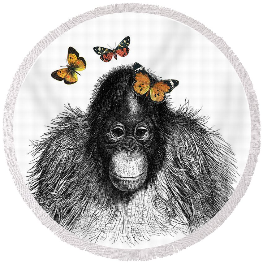 Monkey Round Beach Towel featuring the digital art Baby Monkey With Orange Butterflies by Madame Memento