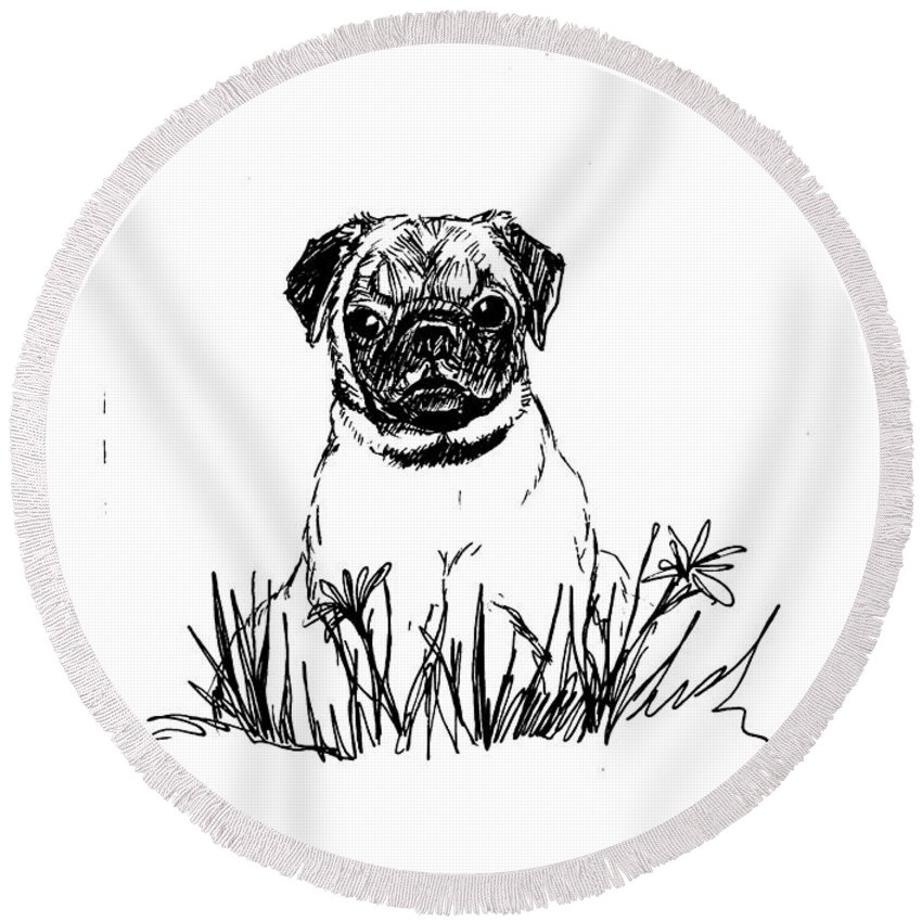 Pug Round Beach Towel featuring the drawing Baby Pug In Flowers by Charme Curtin