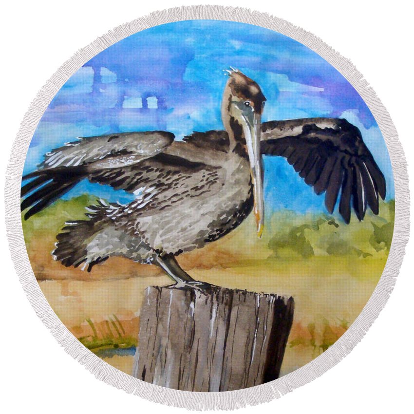 Pelican Round Beach Towel featuring the painting Baby Spreads His Wings by Jean Blackmer