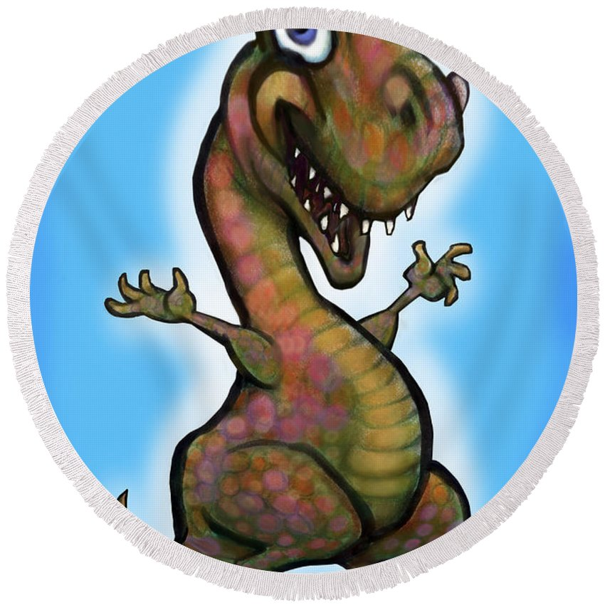 Baby Round Beach Towel featuring the painting Baby T-rex Blue by Kevin Middleton