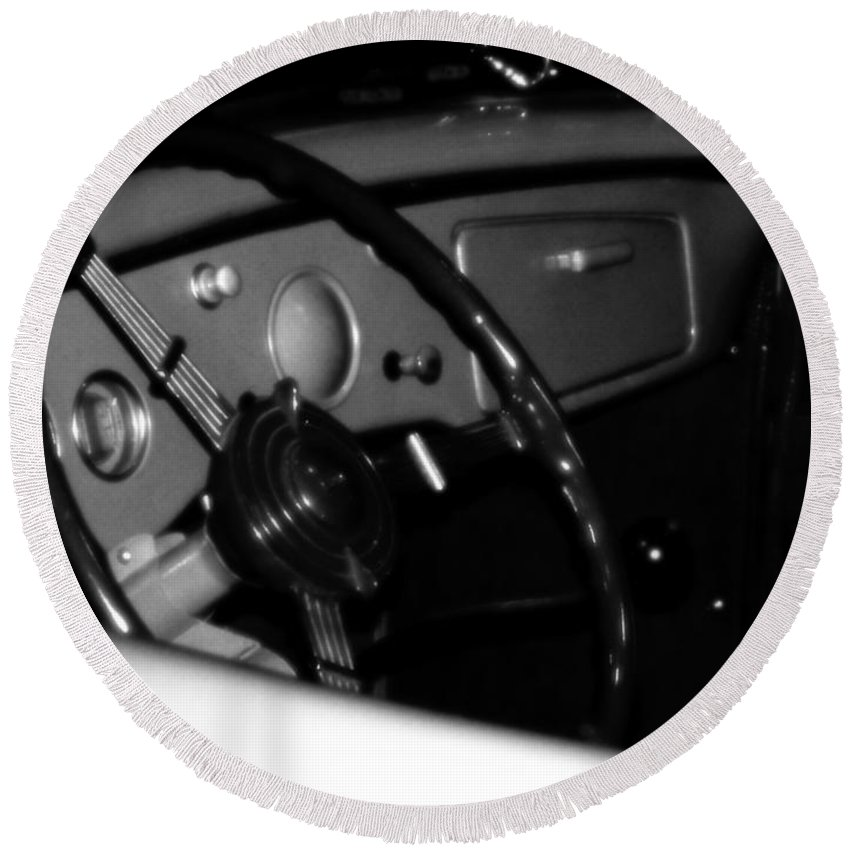 Black And White Round Beach Towel featuring the photograph Baby You Can Drive My Car I by RC DeWinter