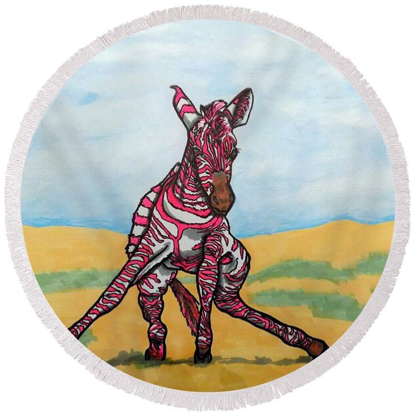 Zebras Round Beach Towel featuring the painting Baby Zebra by Mary Sperling