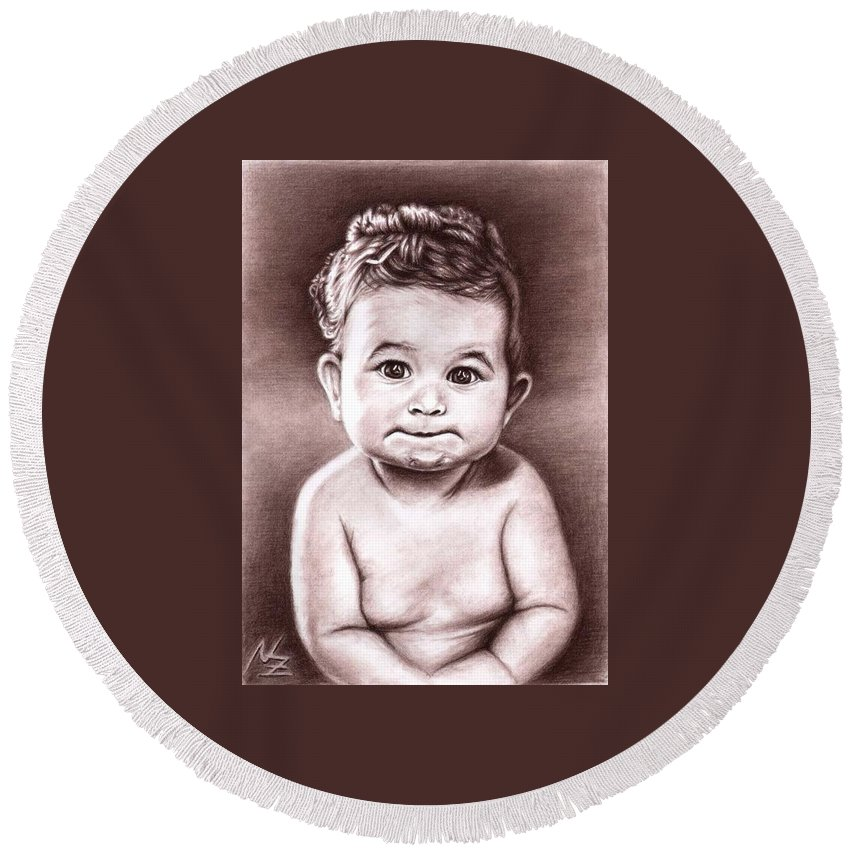 Baby Child Kind Enfant Face Sepia Charcoal Portrait Realism Round Beach Towel featuring the drawing Babyface by Nicole Zeug